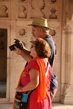 Foreigners At India. Foreigners enjoying at the Red Agra Fort.Agra, Uttar Pradesh, India Stock Images