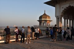 Foreigners At India. Foreigners gathering at Agra fort to see the Tajmahal Stock Image