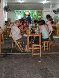 The foreigners in the restaurant in guilin, china Royalty Free Stock Images
