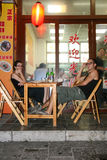 The foreigners in the restaurant in guilin, china Royalty Free Stock Photo