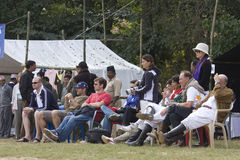 Foreigners watching the elephant polo game at Thakurdwara, Bardia, Nepal. Foreigners watching the elephant polo game at Thakurdwara, in Bardia, Nepal Stock Photography
