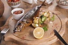 Forellbiff med bakade potatisar vitlök, rosmarin och vagetables på träbräde royaltyfri fotografi