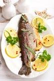 Forelle mit Zitronen und Rosmarin für Weihnachten Lizenzfreie Stockbilder