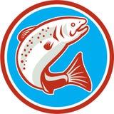 Forellen-Fisch-springender Kreis Retro- Stockfoto