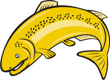 Forellen-Regenbogen-Fisch-springende Karikatur Lizenzfreies Stockbild