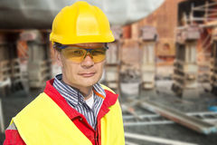 Foreman. Portrait of a foreman in a dry dock royalty free stock photo
