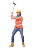 Foreman with axe isolated on white Royalty Free Stock Photos