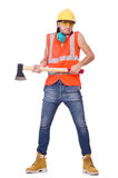 Foreman with axe isolated on white Royalty Free Stock Photo