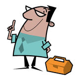 Foreman cartoon illustration. Cartoon illustration of a foreman pointing, with toolbox Royalty Free Stock Image