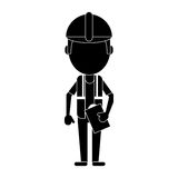 Foreman construction helmet vest and clipboard pictogram Royalty Free Stock Photos