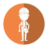 Foreman construction helmet vest and clipboard shadow Royalty Free Stock Photography