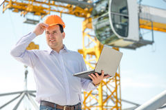 A foreman at the construction. Supervising the project royalty free stock photos