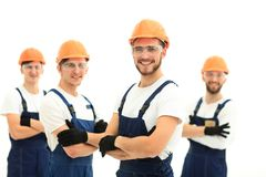 Foreman and construction team isolated on white. Photo with copy space stock photo