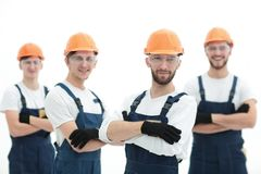 Foreman and construction team isolated on white. Photo with copy space royalty free stock images