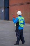 Foreman control forklift handling Stock Image