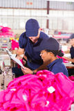 Foreman and dressmaker. Looking at clipboard in factory stock photography