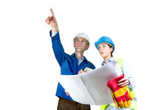 Foreman and engineer with blueprints Royalty Free Stock Images