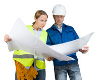 Foreman and engineer with blueprints Stock Photos