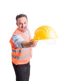Foreman or engineer throwing hat Stock Photos