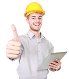Foreman with hard hat showing thumb up Royalty Free Stock Photos