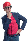 Foreman with hard hat thinking. Isolated Royalty Free Stock Images