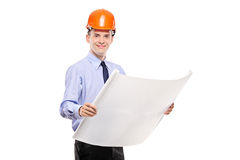 Foreman holding a blueprints Royalty Free Stock Photo