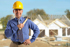 Foreman Holding Hammer Stock Photo