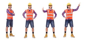 Young construction worker in helmet and briefs isolated on white Royalty Free Stock Images