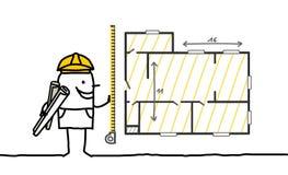 Foreman measuring a plan. Hand drawn cartoon characters - foreman measuring a plan stock illustration