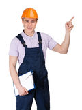 Foreman pointing upward Stock Image