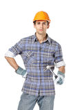 Foreman in range headpiece handing hammer Stock Photo