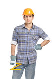 Foreman in range helmet handing ruler Royalty Free Stock Photography