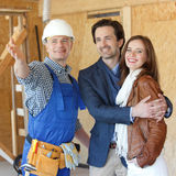 Foreman shows new house Royalty Free Stock Images
