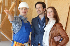Foreman shows new house Royalty Free Stock Photography