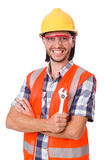 Foreman with spanner isolated on white Stock Photography
