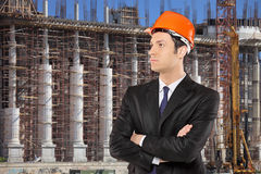 Foreman standing with a construction site Stock Images