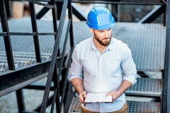 Foreman on the structure stairs royalty free stock photos