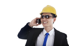 Foreman talking on the phone Royalty Free Stock Photography