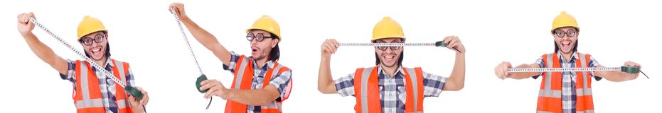 Funny construction worker with tape-line isolated on white. Foreman with tape-measure isolated on white Royalty Free Stock Photography