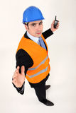 Foreman with a walkie talkie Stock Photo