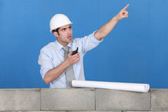Foreman with a walkytalky Royalty Free Stock Images