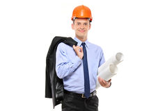 Foreman wearing helmet and holding blueprints Stock Photography