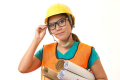 Foreman. Woman in construction work royalty free stock photography