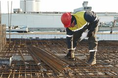 Foreman worker at construction site. Foreman worker in workwear at construction site stock photos