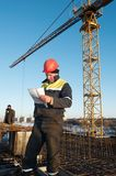 Foreman worker at construction site Royalty Free Stock Photo