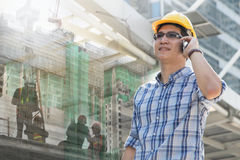 Foreman worker on construction site Royalty Free Stock Images