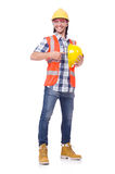 Foreman with yellow helmet isolated on white Royalty Free Stock Photography