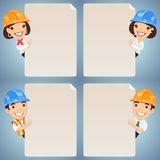 Foremen Cartoon Characters Looking at Blank Poster Set Royalty Free Stock Photography