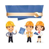 Foremen with Speech Bubble Stock Photo