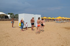 Foremost in the locker room at the beach in Kerch Stock Photo